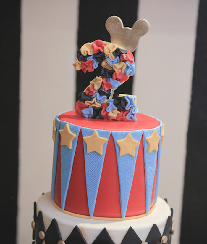 Cake topper from a Mickey Mouse Inspired Vintage Circus Party on Kara's Party Ideas | KarasPartyIdeas.com (15)