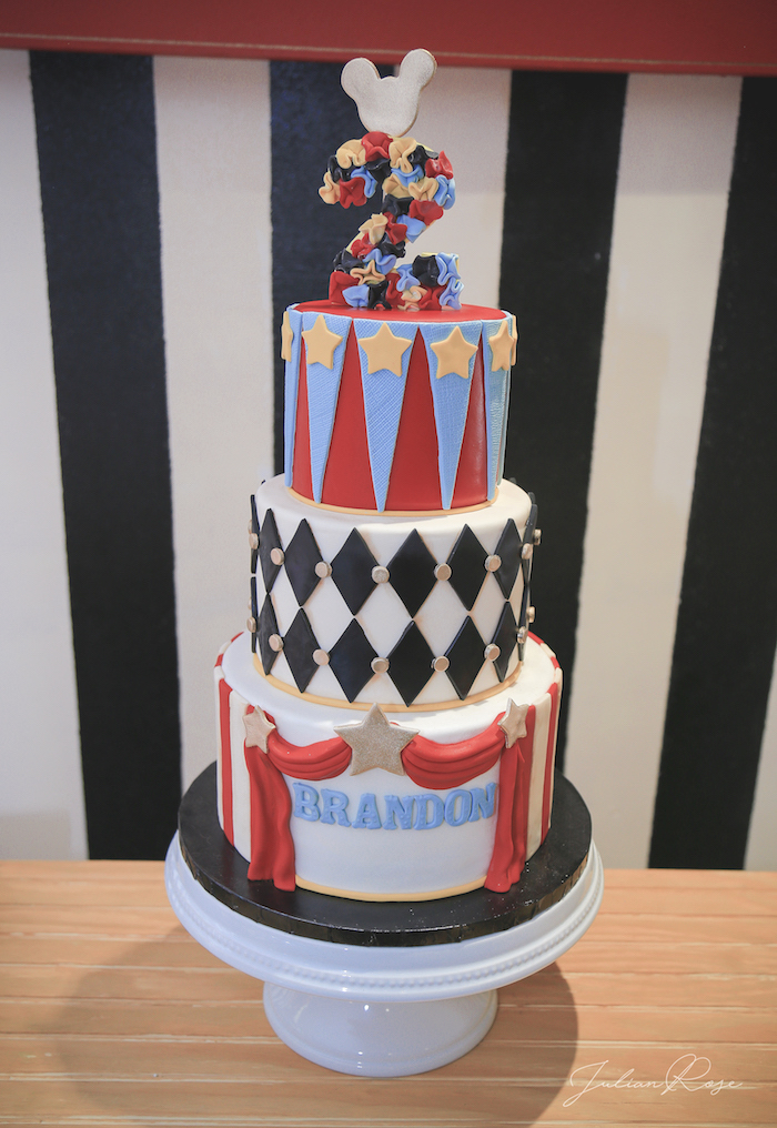 Mickey Mouse Circus Cake from a Mickey Mouse Inspired Vintage Circus Party on Kara's Party Ideas | KarasPartyIdeas.com (14)