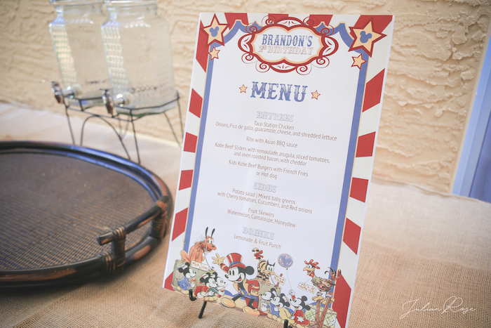 Menu from a Mickey Mouse Inspired Vintage Circus Party on Kara's Party Ideas | KarasPartyIdeas.com (9)