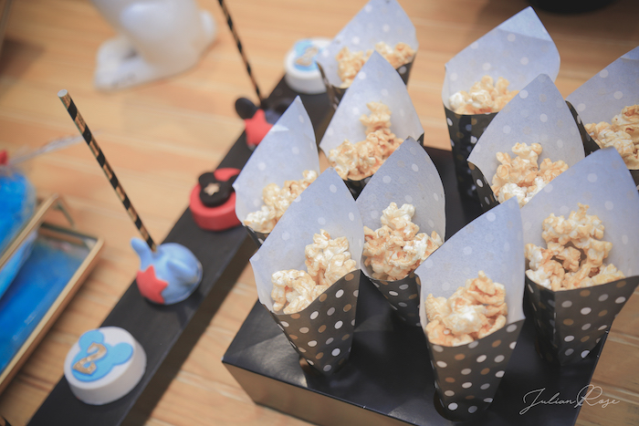 Popcorn cones from a Mickey Mouse Inspired Vintage Circus Party on Kara's Party Ideas | KarasPartyIdeas.com (23)