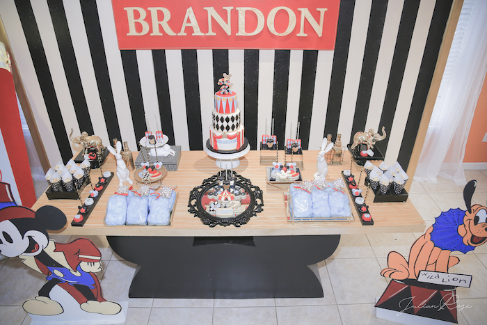 Dessert tabletop from a Mickey Mouse Inspired Vintage Circus Party on Kara's Party Ideas | KarasPartyIdeas.com (18)