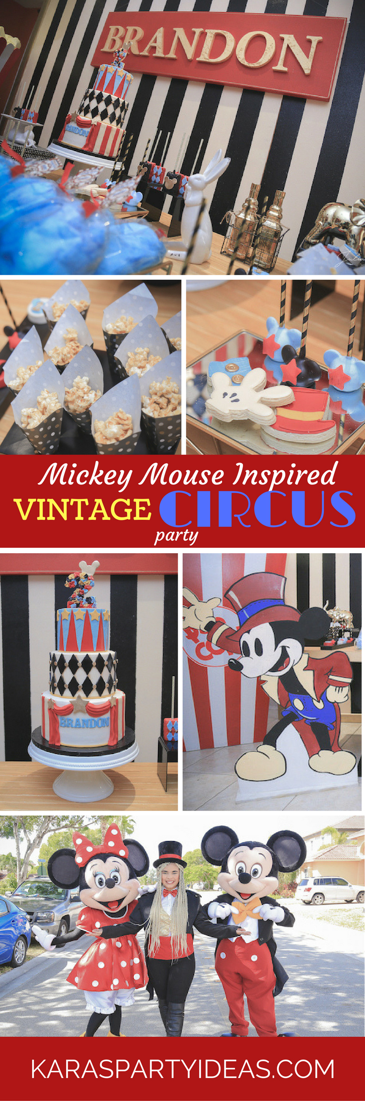 Mickey Mouse Inspired Vintage Circus Party via Kara's Party Ideas - KarasPartyIdeas.com