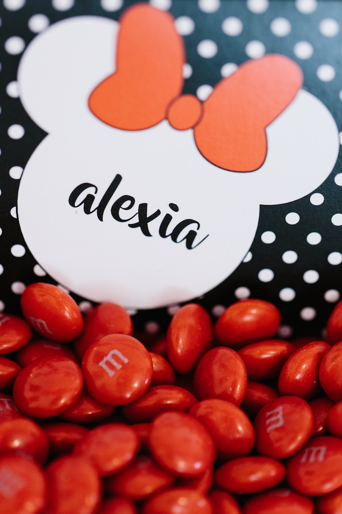 Red M&M's from a Minnie Mouse Birthday Party on Kara's Party Ideas | KarasPartyIdeas.com (12)