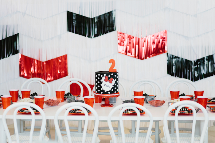 Minnie Mouse guest table from a Minnie Mouse Birthday Party on Kara's Party Ideas | KarasPartyIdeas.com (10)