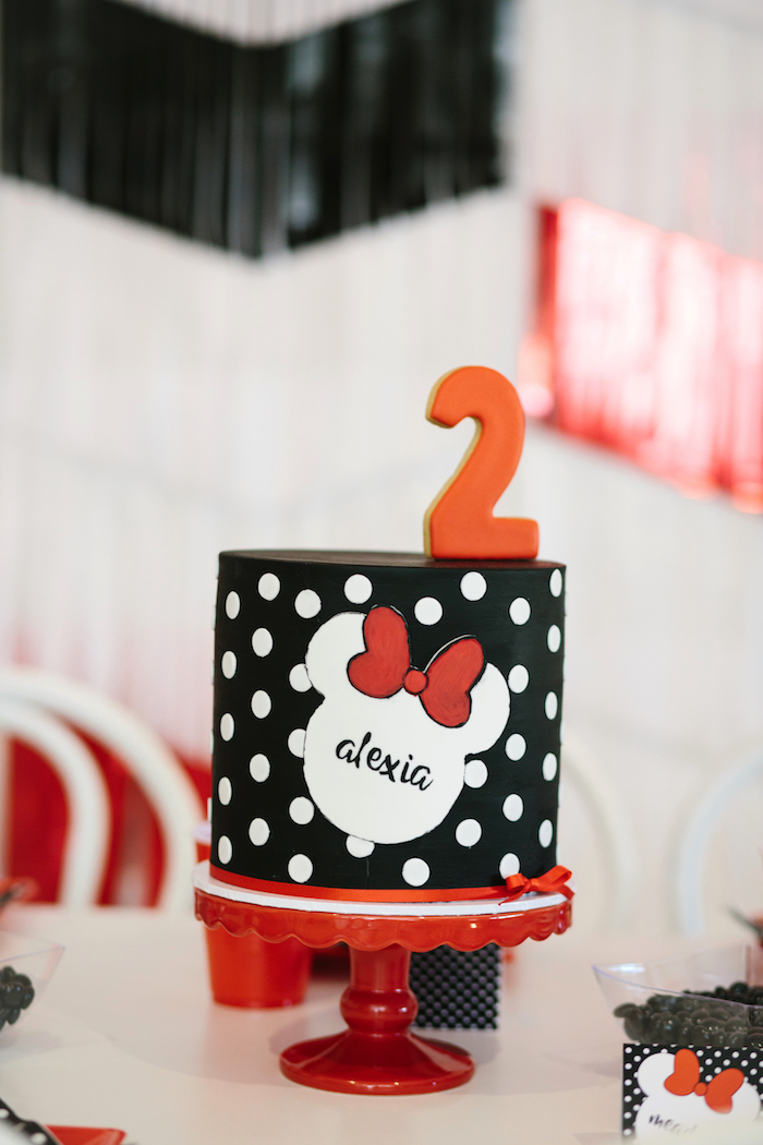 Minnie Mouse Cake from a Minnie Mouse Birthday Party on Kara's Party Ideas | KarasPartyIdeas.com (21)