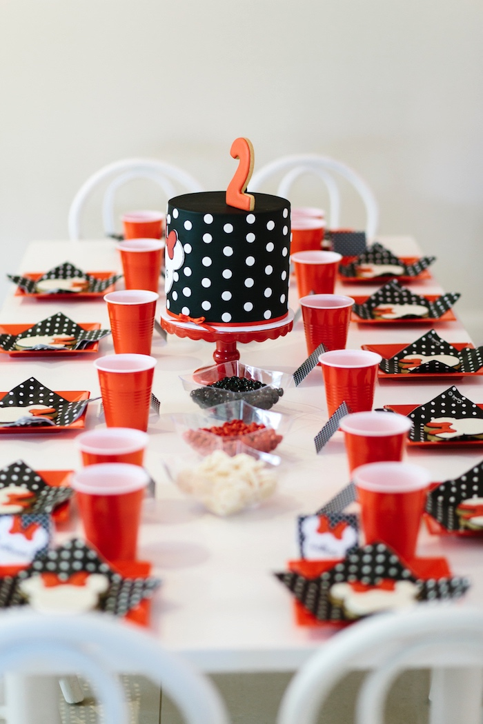 Minnie Mouse party tablescape from a Minnie Mouse Birthday Party on Kara's Party Ideas | KarasPartyIdeas.com (19)