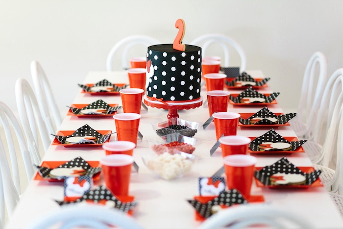 Minnie Mouse guest table from a Minnie Mouse Birthday Party on Kara's Party Ideas | KarasPartyIdeas.com (18)