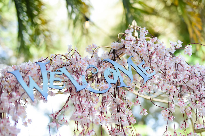 Welcome signage from a Modern Alice in Wonderland Birthday Party on Kara's Party Ideas | KarasPartyIdeas.com (43)