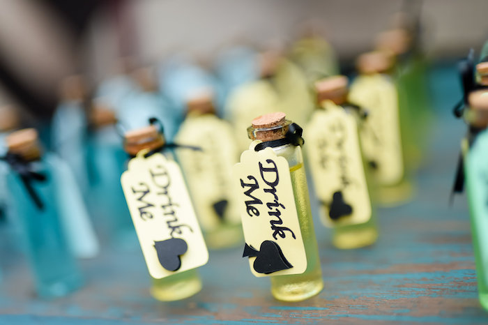 """""""Drink Me"""" favors from a Modern Alice in Wonderland Birthday Party on Kara's Party Ideas 