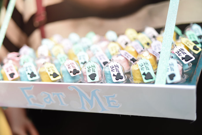 """Eat Me"" favors from a Modern Alice in Wonderland Birthday Party on Kara's Party Ideas 