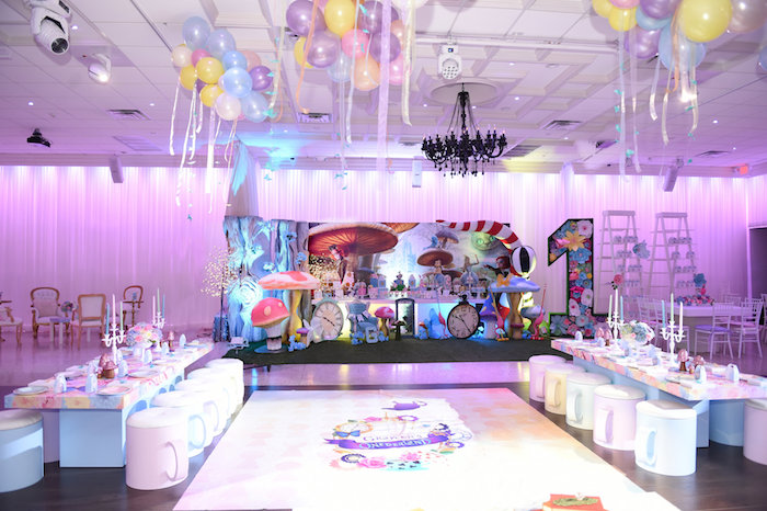 Party tables from a Modern Alice in Wonderland Birthday Party on Kara's Party Ideas | KarasPartyIdeas.com (37)