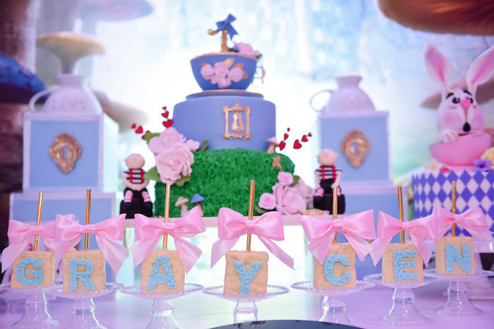Rice Krispie Treats from a Modern Alice in Wonderland Birthday Party on Kara's Party Ideas | KarasPartyIdeas.com (35)