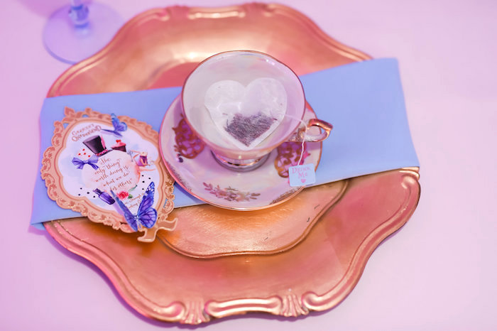 Place setting from a Modern Alice in Wonderland Birthday Party on Kara's Party Ideas | KarasPartyIdeas.com (32)