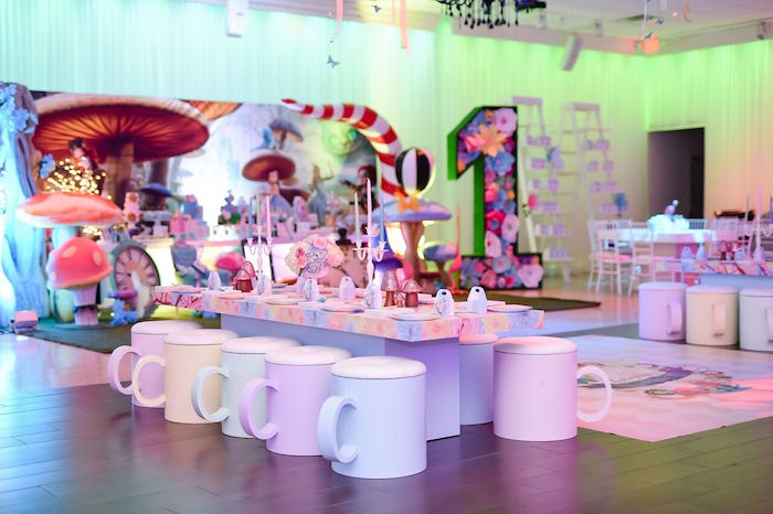 Tea Cup Guest Table from a Modern Alice in Wonderland Birthday Party on Kara's Party Ideas | KarasPartyIdeas.com (28)