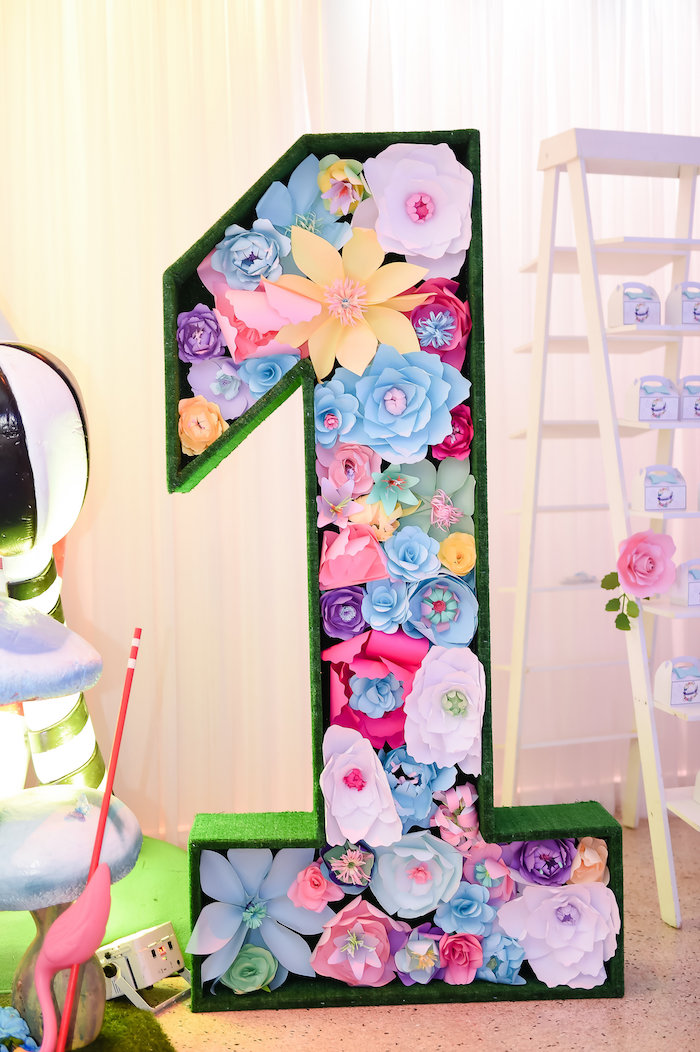 "Paper flower ""1"" from a Modern Alice in Wonderland Birthday Party on Kara's Party Ideas 