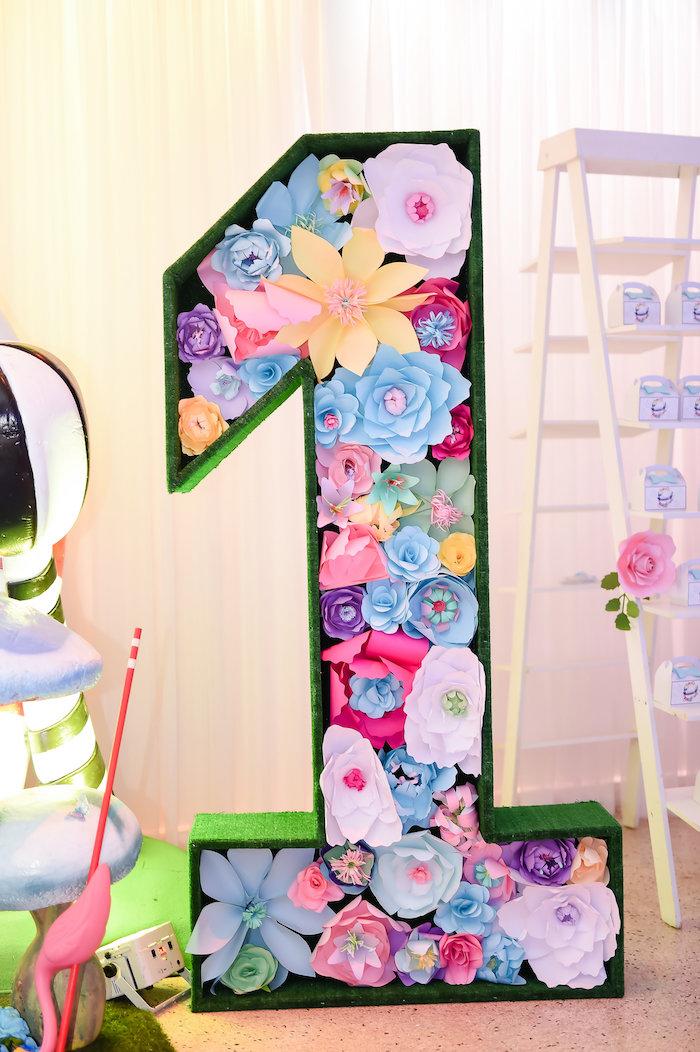 "Paper flower ""1"" from a Modern Alice in Wonderland Birthday Party on Kara's Party Ideas | KarasPartyIdeas.com (27)"