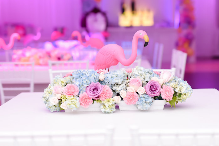 Flamingo florals from a Modern Alice in Wonderland Birthday Party on Kara's Party Ideas | KarasPartyIdeas.com (25)