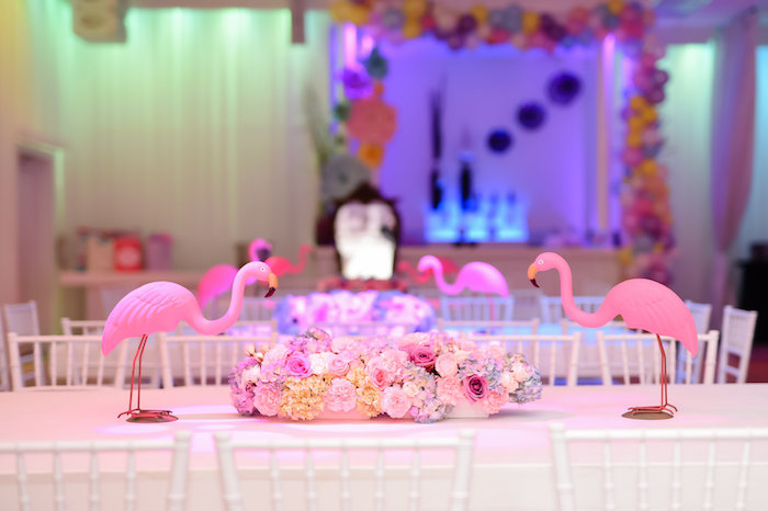 Flamingo guest table from a Modern Alice in Wonderland Birthday Party on Kara's Party Ideas | KarasPartyIdeas.com (24)