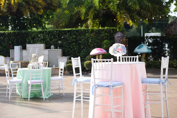 Guest tables from a Modern Alice in Wonderland Birthday Party on Kara's Party Ideas | KarasPartyIdeas.com (51)