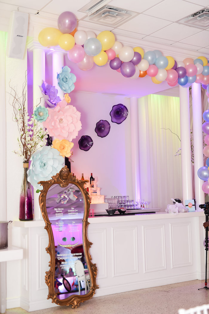 Party table + bar from a Modern Alice in Wonderland Birthday Party on Kara's Party Ideas | KarasPartyIdeas.com (23)