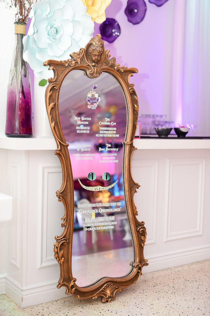 Cheshire Cat Mirror from a Modern Alice in Wonderland Birthday Party on Kara's Party Ideas | KarasPartyIdeas.com (22)