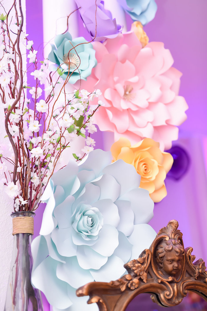 Paper flowers from a Modern Alice in Wonderland Birthday Party on Kara's Party Ideas | KarasPartyIdeas.com (21)