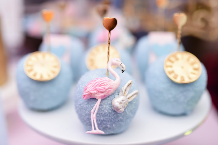 Flamingo croquet cake pop from a Modern Alice in Wonderland Birthday Party on Kara's Party Ideas | KarasPartyIdeas.com (18)
