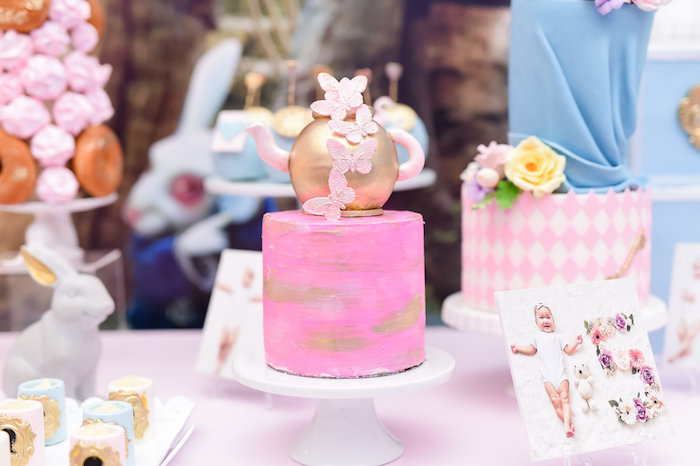 Tea kettle cake from a Modern Alice in Wonderland Birthday Party on Kara's Party Ideas | KarasPartyIdeas.com (15)