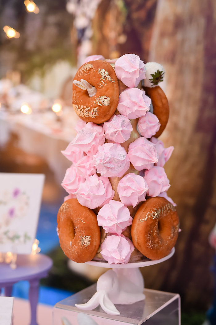 Meringue kiss and doughnut tower from a Modern Alice in Wonderland Birthday Party on Kara's Party Ideas | KarasPartyIdeas.com (14)