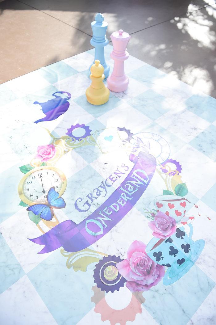 Custom floor chess board from a Modern Alice in Wonderland Birthday Party on Kara's Party Ideas | KarasPartyIdeas.com (50)