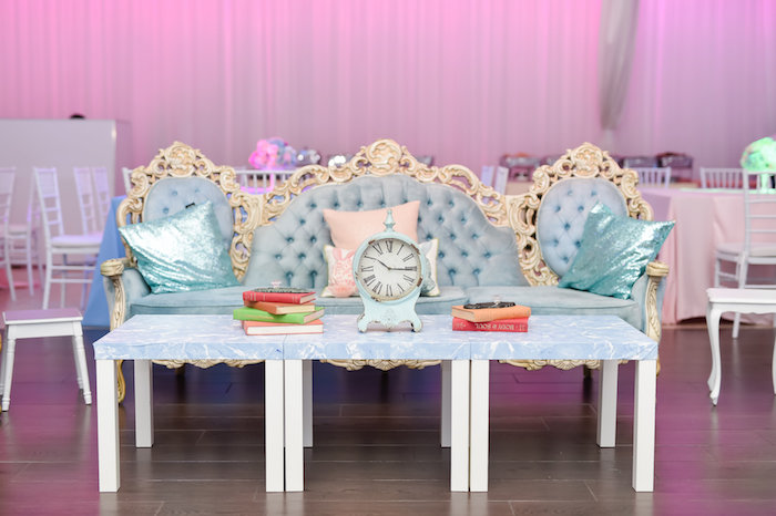 Clock lounge from a Modern Alice in Wonderland Birthday Party on Kara's Party Ideas | KarasPartyIdeas.com (10)