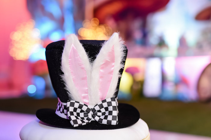 Mad Hatter Hat from a Modern Alice in Wonderland Birthday Party on Kara's Party Ideas | KarasPartyIdeas.com (7)