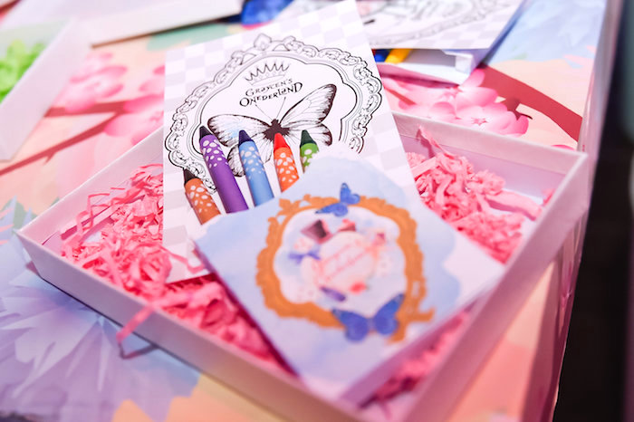 Coloring book and crayons from a Modern Alice in Wonderland Birthday Party on Kara's Party Ideas | KarasPartyIdeas.com (6)