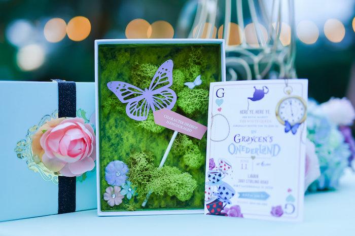 Garden invitation box from a Modern Alice in Wonderland Birthday Party on Kara's Party Ideas | KarasPartyIdeas.com (5)