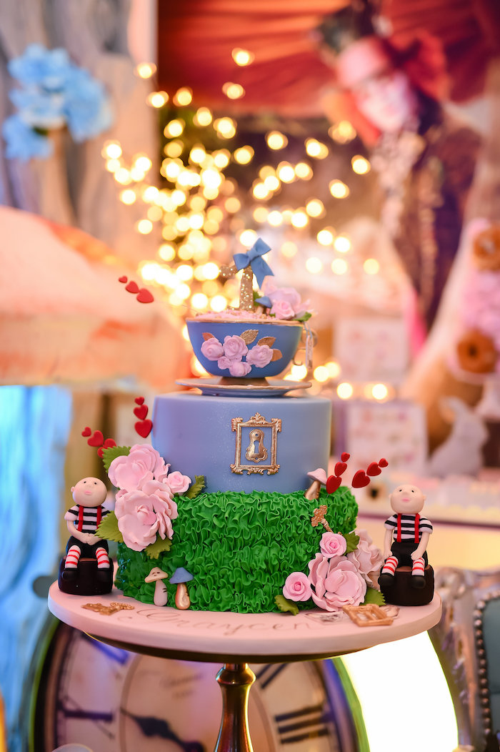 Tea-time cake from a Modern Alice in Wonderland Birthday Party on Kara's Party Ideas | KarasPartyIdeas.com (4)