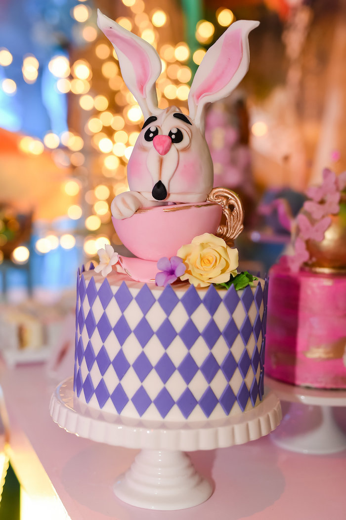 White Rabbit Cake from a Modern Alice in Wonderland Birthday Party on Kara's Party Ideas | KarasPartyIdeas.com (3)