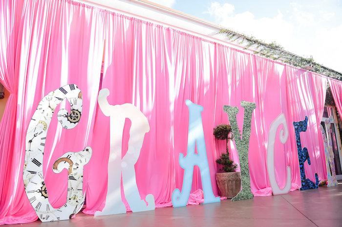 Custom name entrance from a Modern Alice in Wonderland Birthday Party on Kara's Party Ideas | KarasPartyIdeas.com (48)