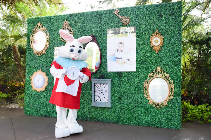 Garden highlight wall from a Modern Alice in Wonderland Birthday Party on Kara's Party Ideas | KarasPartyIdeas.com (47)