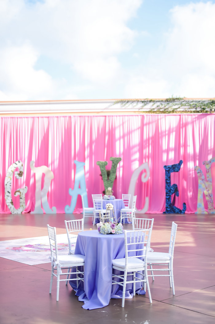 Guest table from a Modern Alice in Wonderland Birthday Party on Kara's Party Ideas | KarasPartyIdeas.com (46)