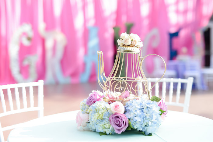 Wire tea kettle and bloom centerpiece from a Modern Alice in Wonderland Birthday Party on Kara's Party Ideas | KarasPartyIdeas.com (44)