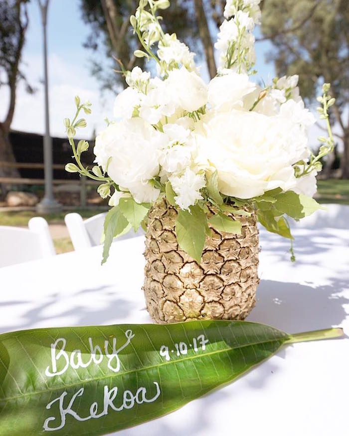Glam Pineapple Floral Arrangement/centerpiece From A Modern Hawaiian Baby  Shower On Karau0027s Party Ideas