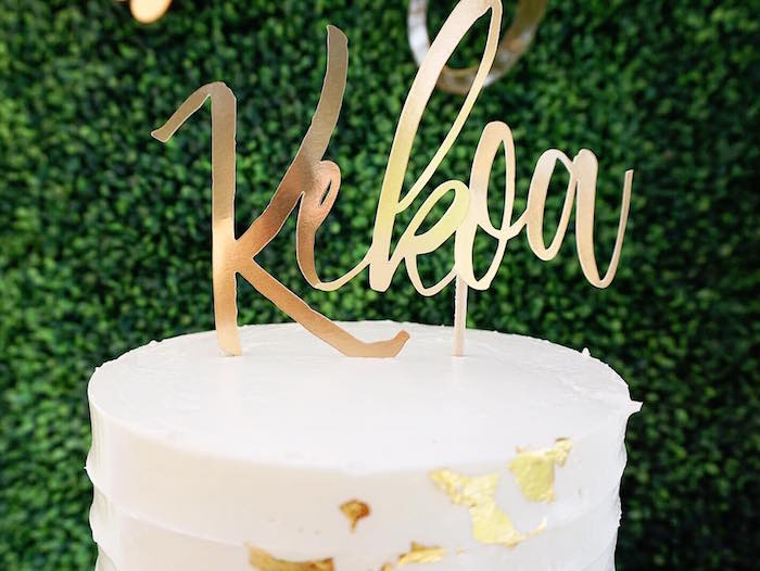 Script Name Cake Topper From A Modern Hawaiian Baby Shower On Karau0027s Party  Ideas | KarasPartyIdeas