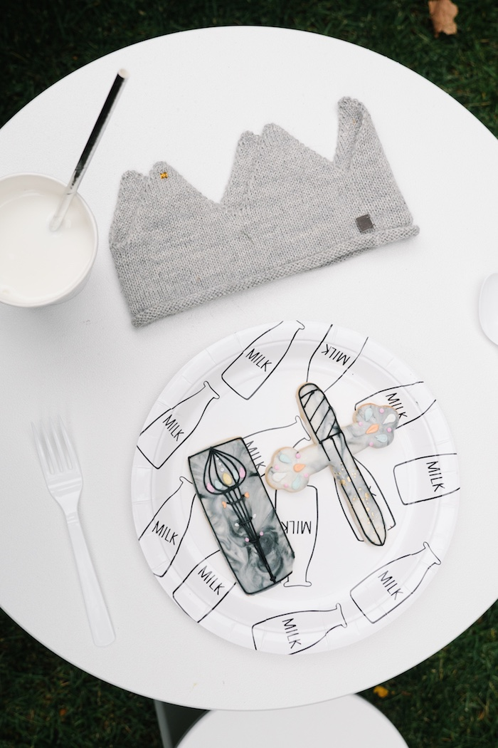 "Place setting from a Modern + Minimal ""King for a Day"" Birthday Party on Kara's Party Ideas 