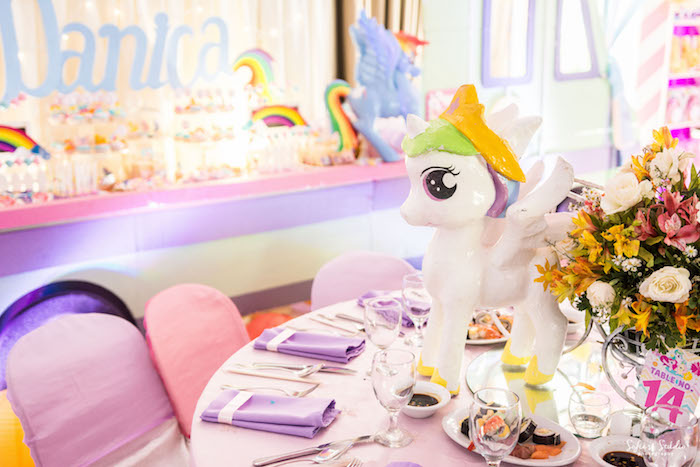 My Little Pony guest table from a My Little Pony Birthday Party on Kara's Party Ideas | KarasPartyIdeas.com (12)