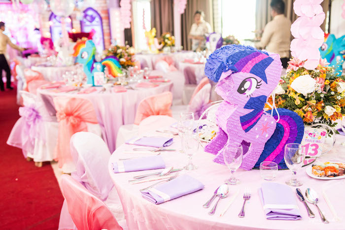 My Little Pony guest table from a My Little Pony Birthday Party on Kara's Party Ideas | KarasPartyIdeas.com (11)