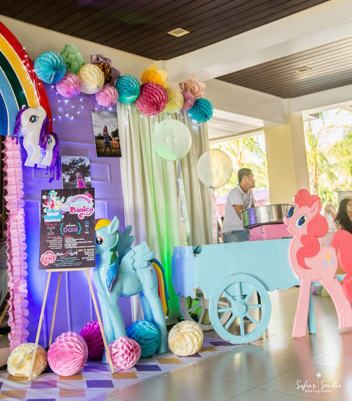 My Little Pony Cotton Candy Cart from a My Little Pony Birthday Party on Kara's Party Ideas | KarasPartyIdeas.com (2)