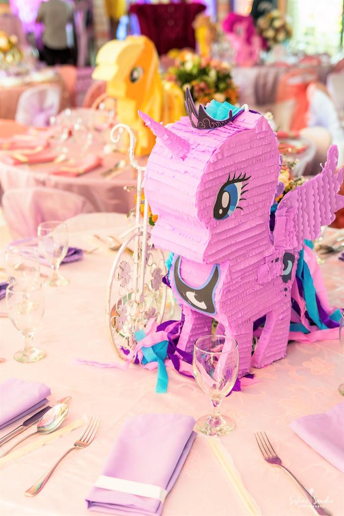 My Little Pony pinata centerpiece from a My Little Pony Birthday Party on Kara's Party Ideas | KarasPartyIdeas.com (29)