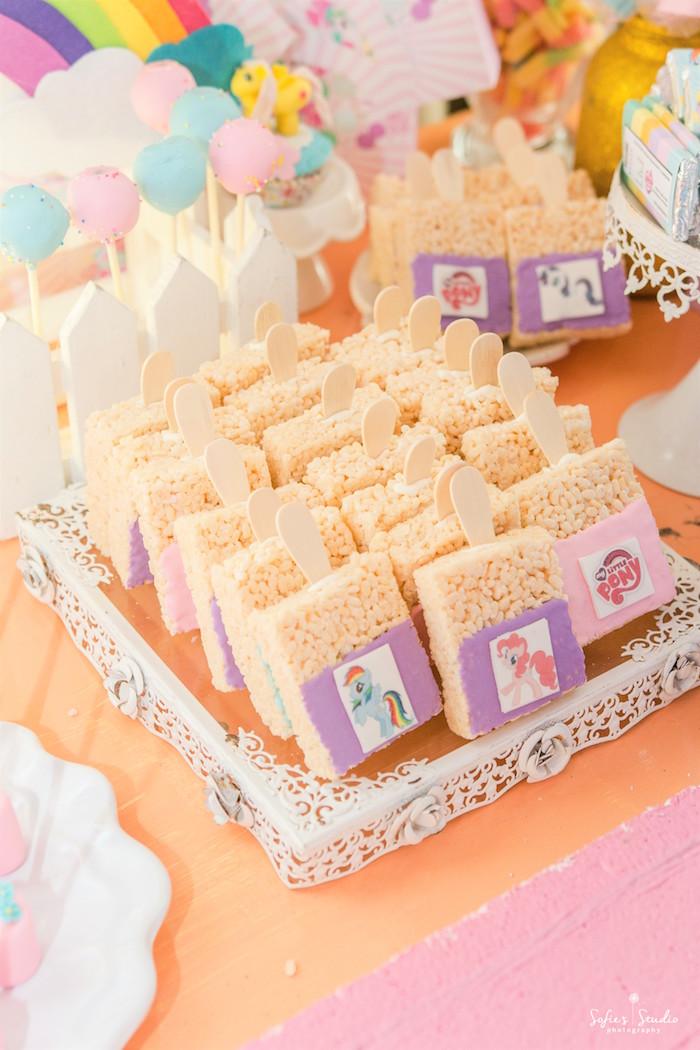 Crispy treats from a My Little Pony Birthday Party on Kara's Party Ideas | KarasPartyIdeas.com (28)