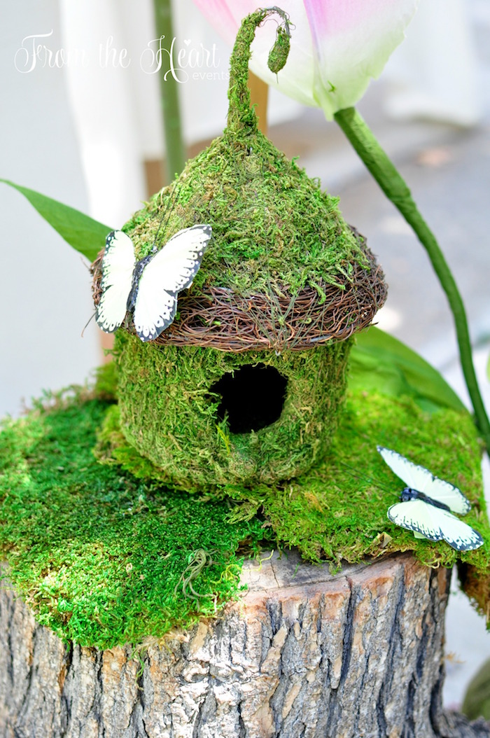Moss covered, fairy house from a Neverland Birthday Party on Kara's Party Ideas   KarasPartyIdeas.com (36)