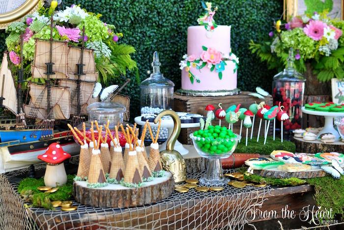 Cake table from a Neverland Birthday Party on Kara's Party Ideas | KarasPartyIdeas.com (33)